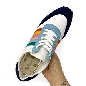 Boden Striped Rainbow Sneaker Suede Trim Sz 41